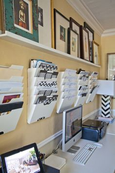 Great idea with the vertical filing on the wall. Important items in plain sight. Pinned by Suzanna Kaye Home Organizer For more organizing tips, articles and ideas visit www.ASpaceThatWorks.com/blog or follow at www.facebook.com/SuzannaHomeOrganizer #organize #home