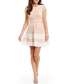 Teeze Me CapSleeve Striped Skirt Lace Skater Dress #Dillards