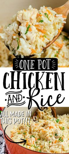 One Pot Rice Meals, Chicken And Rice Dishes, Chicken Rice Recipes, Creamy Chicken And Rice, Chicken Rice Casserole, One Pot Chicken, Casserole Recipes, Moist Chicken, Rice Recipes For Kids