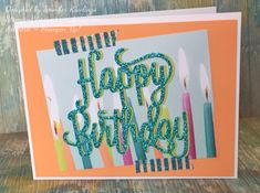 Birthday Card / Happy Birthday thinlits die / Picture Perfect Party DSP / Myths & Magic washi tape / glimmer paper / 2018 Occasions Catalog / Stampin' Up! / StampinBlessings.wordpress.com
