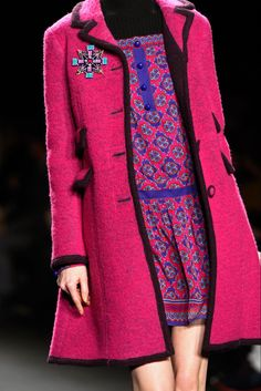 Magenta & Black Coat - Anna Sui Fall 2013