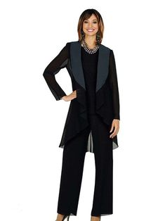 Elegant Mother of the Bride Pants Suit with Jacket 2016 Fall Long Sleeve Three Pieces Ankle Length Black Chiffon Mothers Evening Bridal Gown
