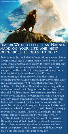 Last day of my Narnia Challenge! This is what Narnia means to me.