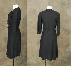SALE Til 8/31 vintage 40s Dress 1940s Noir Black by jessamity