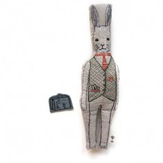 rabbit with suitcase pocket doll