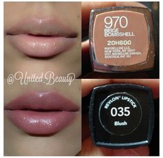 Nude lip: Maybelline - Beige Bombshell and Revlon - Blush Nude Lipstick, Lipstick Colors, Lip Colors, Lipstick Shades, Drugstore Lipstick, Lipsticks, Neutral Colors, Makeup Dupes, Skin Makeup