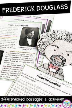 Perfect for black history month! Differentiated close reading and writing activities about civil rights leader, Frederick Douglass. Leveled reading comprehension passages, writing activities, and more for and grade. Black History Month Quotes, Black History Month Activities, Family History Book, History For Kids, Kids Writing, Writing Activities, Holiday Activities, History Classroom Decorations, African American History Month