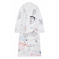 Raf Simons coat featuring polyvore, women's fashion, clothing, outerwear, coats, raf simons and white coat