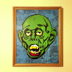 """Ghouls Walk Among Us - 16""""x20"""" stencil on canvas and 1973 Psycho Magazine pages. #zombie #stencil #undead"""