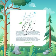 Pine and fir on green hills. Stones and grass are in f… - Modern Flat Background, Forest Background, Summer Clipart, Most Beautiful Words, Fir Tree, Texture Vector, Stippling, Clipart Images, Royalty Free Images