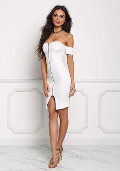 Ivory Scuba Knit Off Shoulder Bodycon Dress - Dresses