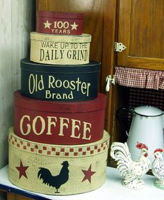 Old Rooster Brand Coffee primitive shaker style stacking boxes. $47,00, via Etsy.