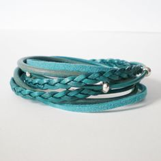turquoise leather wrap bracelet, suede, bohemian, silver beads, double wrap, rocker, surfer chic