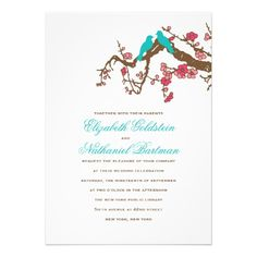 Cherry Blossom Lovebirds Wedding Invitation