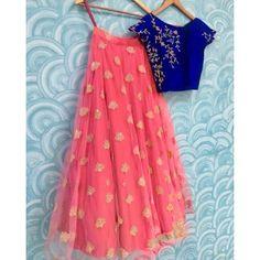Buy Ravishing Blue-Peach Designer Embroidered Net & Velvet Lehenga Choli at Rs. Get latest Lehenga Kameez at Ethnic Factory. Indian Gowns, Indian Attire, Indian Wear, Indian Outfits, Indian Clothes, Lehenga Choli Designs, Kids Lehenga Choli, Lehnga Dress, Lehenga Blouse