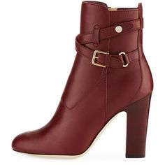 Jimmy Choo Mitchell Leather Buckle Bootie ($995) ❤ liked on Polyvore featuring shoes, boots, ankle booties, jimmy choo boots, jimmy choo bootie, jimmy choo, ankle boots and short boots