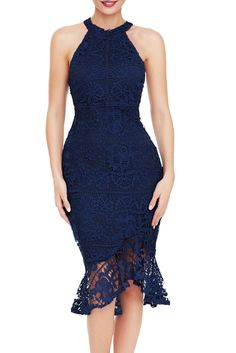 Navy Sleeveless Lace Fishtail Bodycon Party Dress modeshe.com