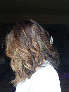 Obsessed sombre ombré highlights brown hair blonde shoulder length waves. Instagram @plum_hair