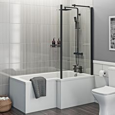 Orchard L shaped right handed shower bath with matt black shower screen 1700 x 850 Bathroom With Shower And Bath, Shower Bath Combo, Shower Over Bath, Shower Tub, White Bathroom, Small Bathroom Layout, Very Small Bathroom, Family Bathroom, Bathroom Inspiration