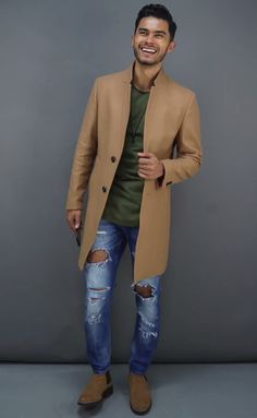 - with a fall combo featuring a camel hair topcoat green shirt ripped blue jeans brown suede chelsea boots. Brown Chelsea Boots Outfit, Brown Suede Chelsea Boots, Winter Outfits Men, Casual Outfits, Men Casual, Outfit Winter, Winter Wear, Fall Outfits, Fashion Mode