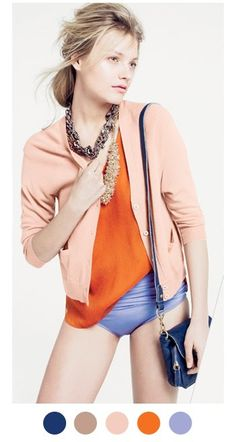 Love the pumpkin and peach combo. And who would have thought to throw periwinkle into the mix? Very Jcrew.