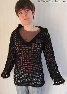 Open Checkerboard Hoodie By Susan Oldfield - Free Crochet Pattern - (ravelry)