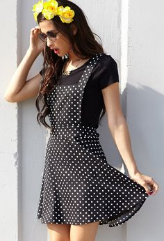 Polka Dot Overall Dress | FOREVER21 Hey toto is that you? #WestSide #PolkaDots #BlackAndWhite