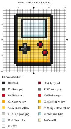 loisirs - leisure - gameboy - point de croix - cross stitch - Blog : http://broderiemimie44.canalblog.com/
