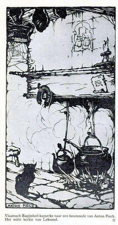 Anton Pieck-houtsnede  haardvuur 1924