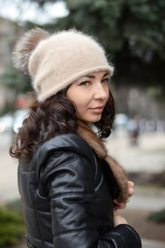 Angora knit hat Fur pompom hat Winter knit beanie Oversized knitted beanie by…