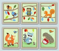 Set of six 8x10 Forest animal prints. Matches by LittlePigStudios