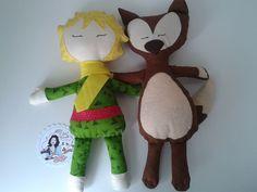 """Little Prince and Fox handmade  """"He was only a fox like a hundred thousand other foxes. But I have made him my friend, and now he is unique in all the world"""" - The little prince - Antoine de Saint-Exupéry."""