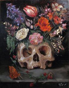 Vanitas with Skull and Flowers, Oil on Cradled Wood by Margot King Crane, Vanitas Paintings, Oil Paintings, Memento Mori Art, Skeleton Flower, Skull Painting, Oil Painting For Sale, Goth Art, A Level Art