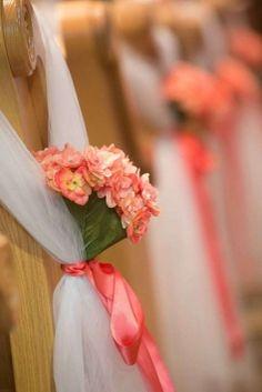 White coral pew bows with flowers Wedding Pews, Wedding Ceremony Flowers, Wedding Bouquets, Wedding Church, Chapel Wedding, Diy Wedding, Rustic Wedding, Pew Decorations, Church Wedding Decorations