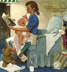 Norman Rockwell, Fine Art, The Babysitter ~ M.S. Rau Antiques