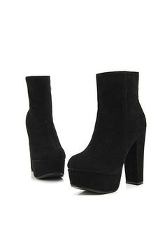 Boots made of suede and suede, featuring a zipped closure to side, block heel with high platform.  How cute are these!