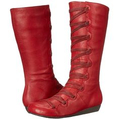 Miz Mooz Donovan Women's Lace-up Boots ($78) ❤ liked on Polyvore featuring shoes, boots, red, embellished boots, red shoes, lace front boots, lace up shoes and miz mooz shoes