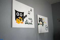 Grey and yellow owl nursery