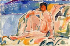 Naked Man on Rock by Edvard Munch