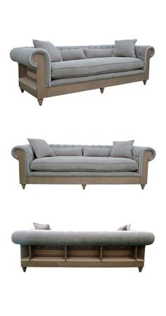 We love the soothing hues of the Hampton Sofa and think you will too. A soft, subtle gray with light brown accents, this sofa features a plush, luxurious seat cushion with a tufted back and rolled arms...  Find the Hampton Sofa, as seen in the Handwoven Bohemian Home Collection at http://dotandbo.com/collections/handwoven-bohemian-home?utm_source=pinterest&utm_medium=organic&db_sku=116123