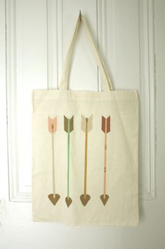 Four Arrows - hand painted cotton tote bag by TWAMIES $20