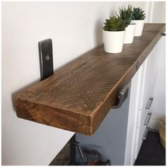 The Best Ways To Have Your Home Improvement Project Progress Quickly. Whether it is making things look better, or if you just want to make a profit, there are lots of things you could get from home improvement projects. Rustic Wooden Shelves, Wooden Diy, Dark Wood Shelves, Wooden Bathroom Shelves, Diy Kitchen Shelves, Industrial Style, Industrial Shelving, Scaffold Boards, Picture Shelves