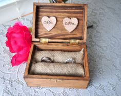Personalized Engraved Woodburned Rustic Woodland Wooden Wedding Ring Box With This Ring, Ring Bearer Burlap Pillow Wood Hearts Mr. Mrs.