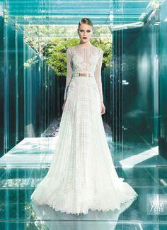 vestido de noiva cintado em renda e manga comprida yolancris vintage couture 2015