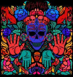 Mictecacihuatl, reina del Mictlán by Fuzzyrush , via Behance #prehispanic #mexico #mesoamerica #culture #diademuertos #mexicas #nahuatl #skull #illustration