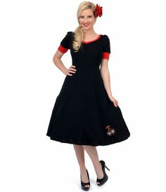 Black & red and perfectly #rockabilly with embroidered cherries #uniquevintage #pinup
