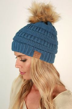 a04a91455ce Beanie Beautiful with Faux Fur Pom in Riverside