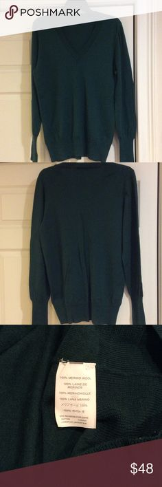 J Crew Vneck Wool Sweater This is J crews Classic Vneck sweater in a beautiful dark green color.  Excellent condition.  I usually wear a medium but bought this in an XL for oversized fit.  This sweater fits tts though.  Pet and smoke free home J. Crew Sweaters V-Necks