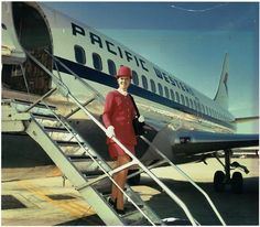 Airlines and Flight Attendants Features - A Pacific Western Airlines Aircraft and Flight Attendant - See Canadian Airlines, Pacific Airlines, Air North, Airline Uniforms, Boeing Aircraft, Intelligent Women, Commercial Aircraft, Cabin Crew, Air Travel