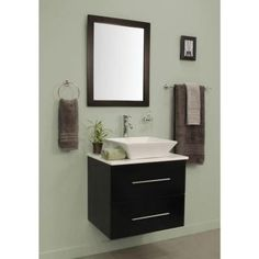 sheffield home berto 24 in vanity in dark wenge with vitreous china vanity top in white and mirror